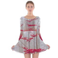Magic Forest In Red And White Long Sleeve Velvet Skater Dress