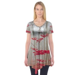 Magic forest in red and white Short Sleeve Tunic