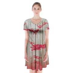 Magic forest in red and white Short Sleeve V-neck Flare Dress