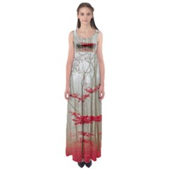 Magic Forest In Red And White Empire Waist Maxi Dress