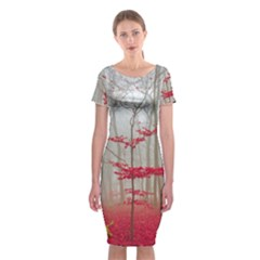 Magic Forest In Red And White Classic Short Sleeve Midi Dress
