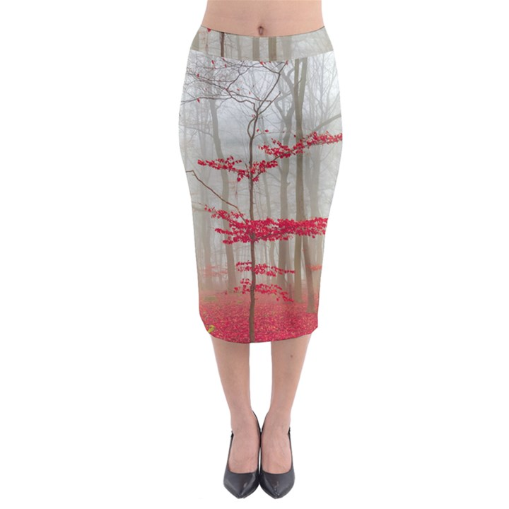 Magic forest in red and white Midi Pencil Skirt