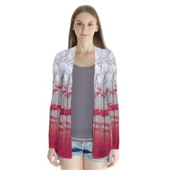 Magic Forest In Red And White Drape Collar Cardigan