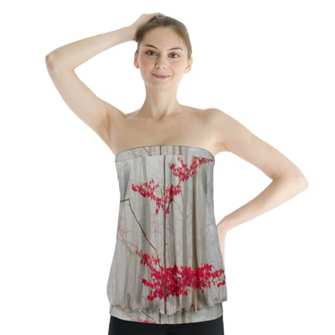 Magic forest in red and white Strapless Top