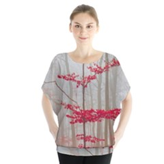 Magic forest in red and white Blouse