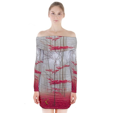 Magic forest in red and white Long Sleeve Off Shoulder Dress