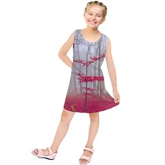 Magic forest in red and white Kids  Tunic Dress