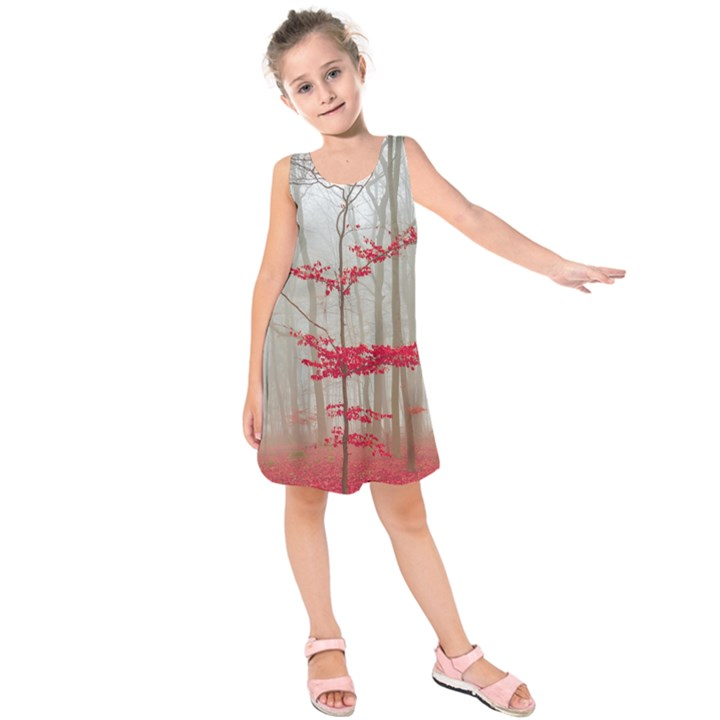 Magic forest in red and white Kids  Sleeveless Dress
