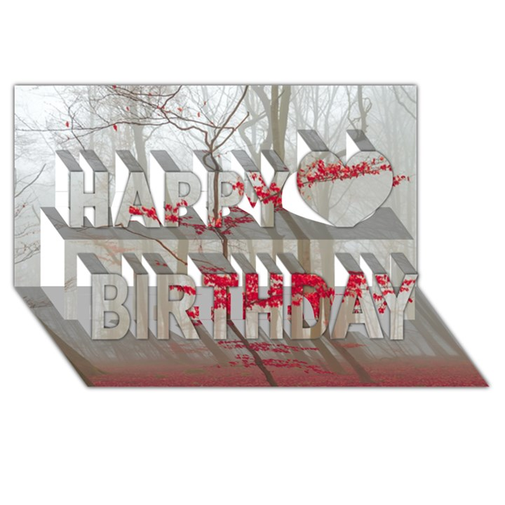 Magic Forest In Red And White Happy Birthday 3D Greeting Card (8x4)