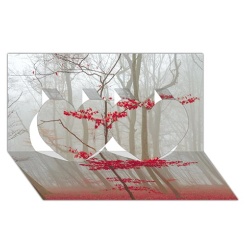 Magic Forest In Red And White Twin Hearts 3D Greeting Card (8x4)