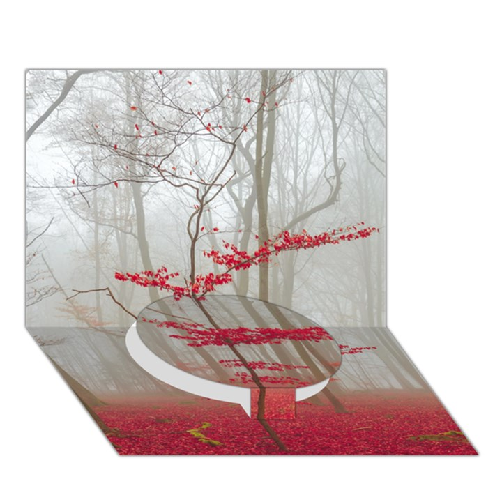 Magic Forest In Red And White Circle Bottom 3D Greeting Card (7x5)