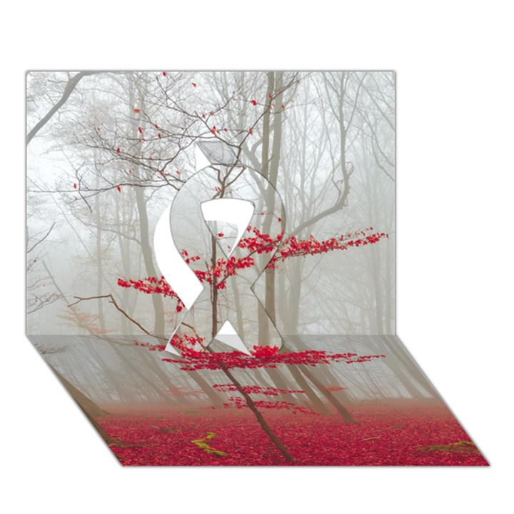 Magic Forest In Red And White Ribbon 3D Greeting Card (7x5)
