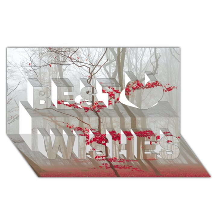 Magic Forest In Red And White Best Wish 3D Greeting Card (8x4)