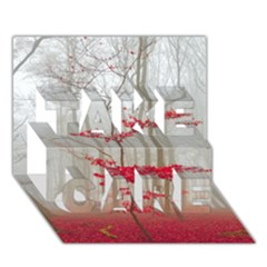 Magic Forest In Red And White Take Care 3d Greeting Card (7x5)