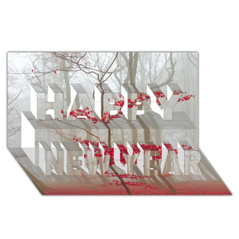 Magic Forest In Red And White Happy New Year 3D Greeting Card (8x4)