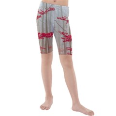 Magic Forest In Red And White Kids  Mid Length Swim Shorts