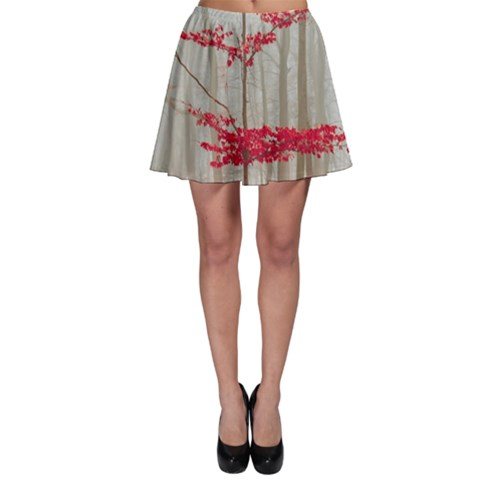 Magic Forest In Red And White Skater Skirt