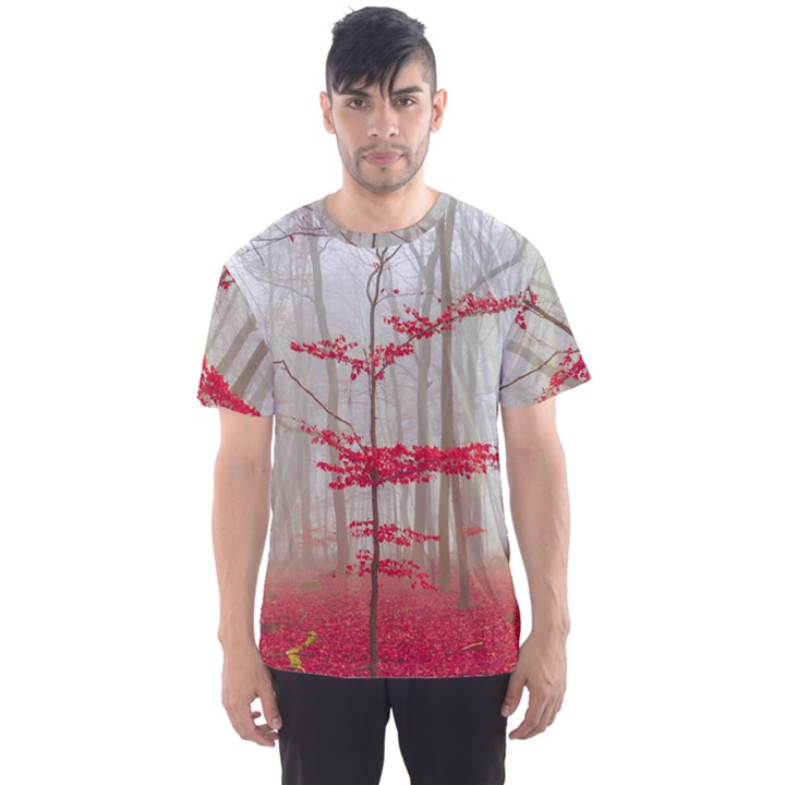 Magic Forest In Red And White Men s Sport Mesh Tee