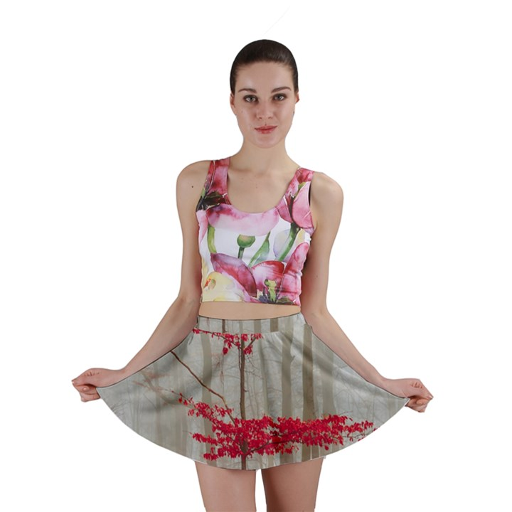 Magic Forest In Red And White Mini Skirt