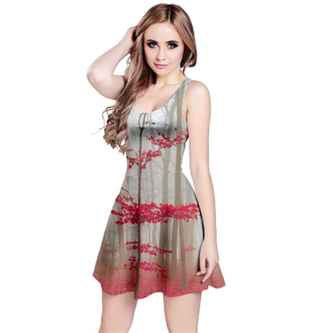 Magic Forest In Red And White Reversible Sleeveless Dress