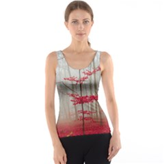Magic Forest In Red And White Tank Top