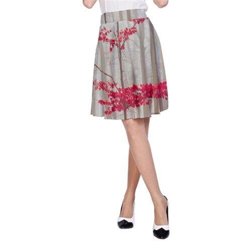 Magic Forest In Red And White A-Line Skirt
