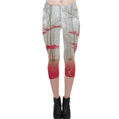 Magic Forest In Red And White Capri Leggings