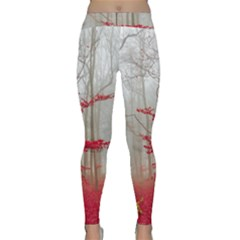 Magic Forest In Red And White Yoga Leggings