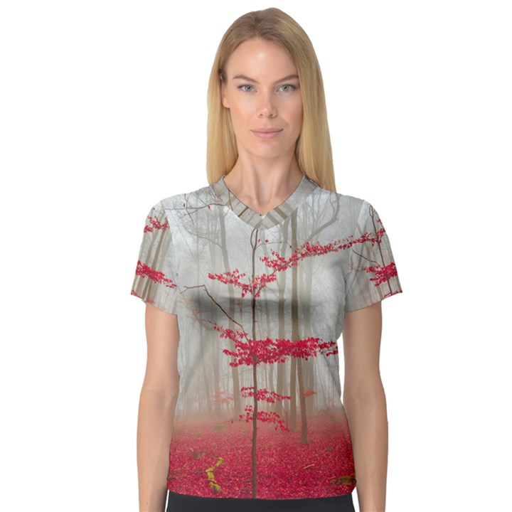 Magic Forest In Red And White Women s V-Neck Sport Mesh Tee