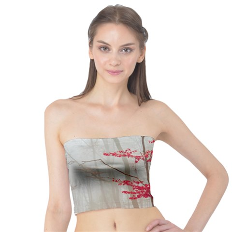 Magic Forest In Red And White Tube Top