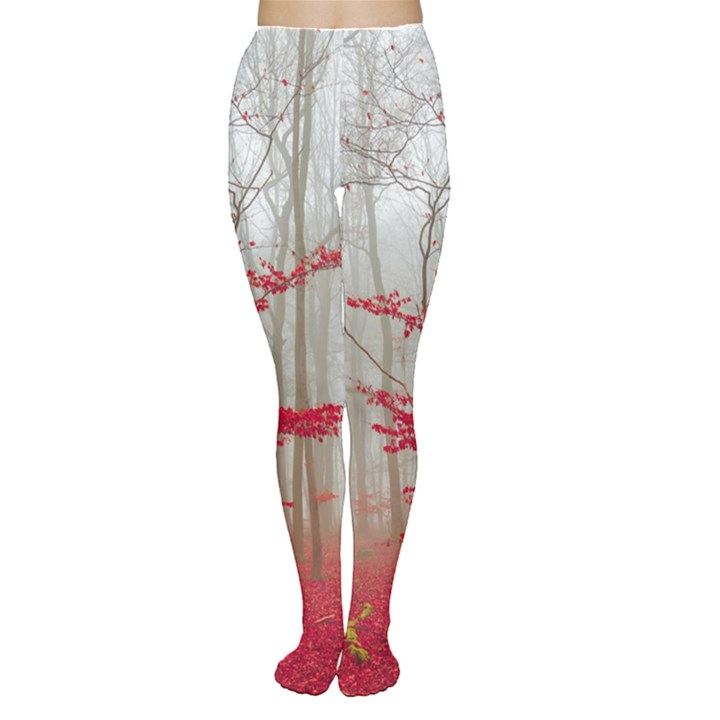 Magic Forest In Red And White Women s Tights