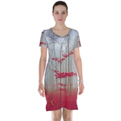 Magic Forest In Red And White Short Sleeve Nightdress