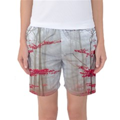 Magic Forest In Red And White Women s Basketball Shorts