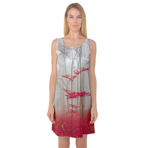 Magic Forest In Red And White Sleeveless Satin Nightdress