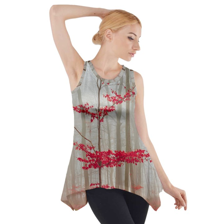 Magic Forest In Red And White Side Drop Tank Tunic