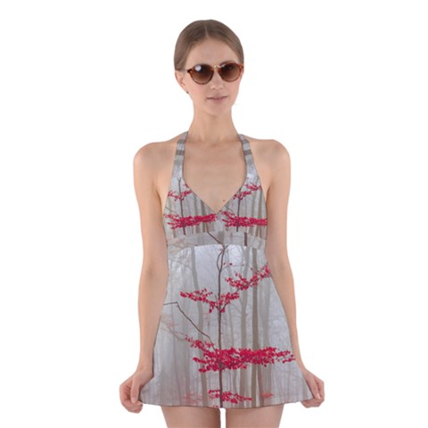 Magic Forest In Red And White Halter Swimsuit Dress