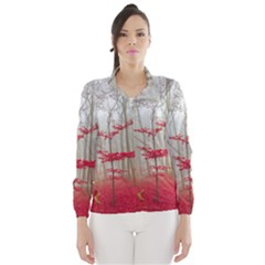 Magic Forest In Red And White Wind Breaker (women)