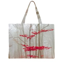 Magic Forest In Red And White Large Tote Bag