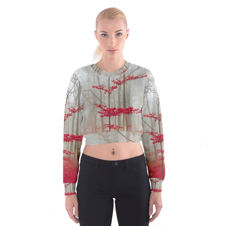 Magic Forest In Red And White Women s Cropped Sweatshirt