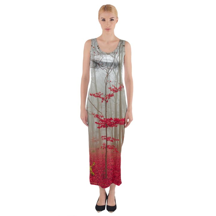 Magic Forest In Red And White Fitted Maxi Dress