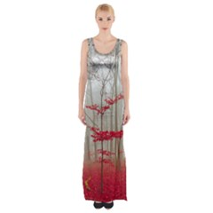 Magic Forest In Red And White Maxi Thigh Split Dress