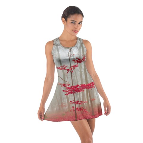 Magic Forest In Red And White Cotton Racerback Dress
