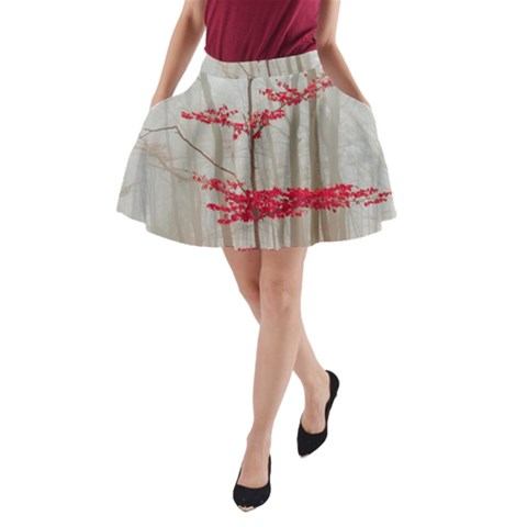 Magic Forest In Red And White A-Line Pocket Skirt