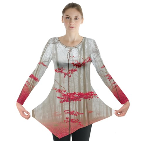 Magic Forest In Red And White Long Sleeve Tunic