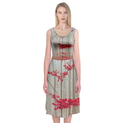 Magic Forest In Red And White Midi Sleeveless Dress