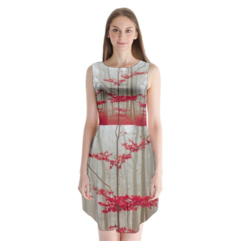 Magic Forest In Red And White Sleeveless Chiffon Dress