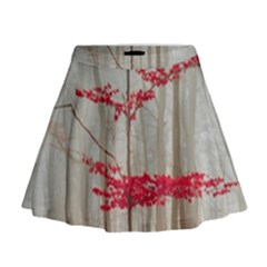 Magic Forest In Red And White Mini Flare Skirt