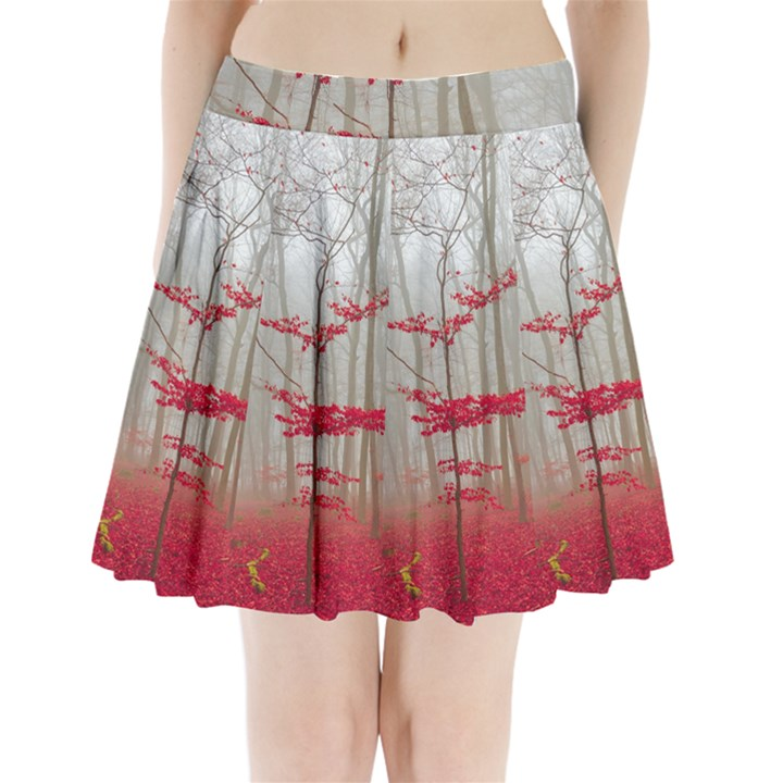 Magic Forest In Red And White Pleated Mini Skirt