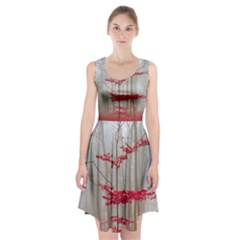 Magic Forest In Red And White Racerback Midi Dress