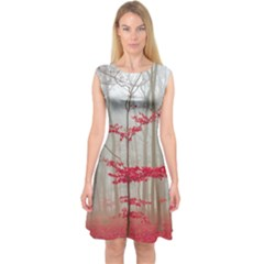 Magic Forest In Red And White Capsleeve Midi Dress